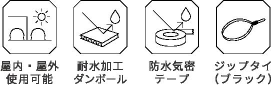 屋内・屋外使用可能、撥水ダンボール、防水機密テープ、ジップタイ(ブラック)